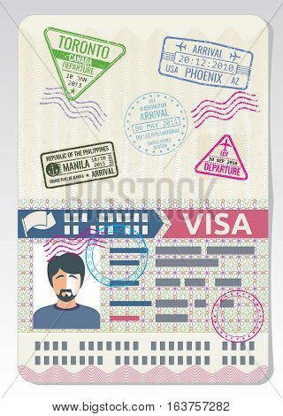 Open custom passport with visa stamps. Business travel vector concept. Passport with visa for border crossing illustration