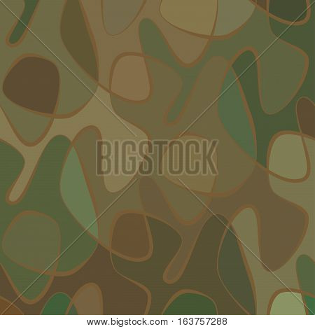 Abstract wave camo background of drawn lines. Colorful green pattern.