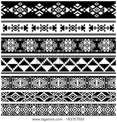 African and mexican aztec american tribal vector borders, frame patterns. Monochrome of african tribal pattern illustration