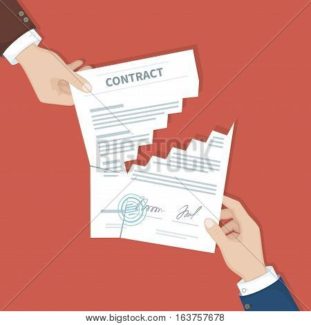 Contract termination concept. Two businessman hands tearing document apart. The end of agreement. Vector illustration in flat design for business concept. View from above