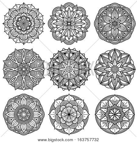 Indian meditation mandala patterns vector. Set of monochrome indian mandala. Illustration of floral mandala