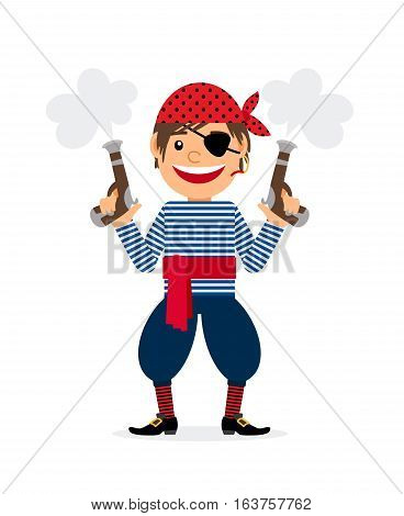Pirate young smiling cartoon character with two pistols on white background. Vector illustration