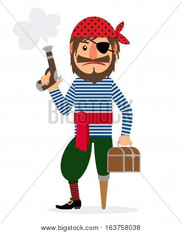 Pirate cartoon character with pistol and treasure chest. Vector illustration