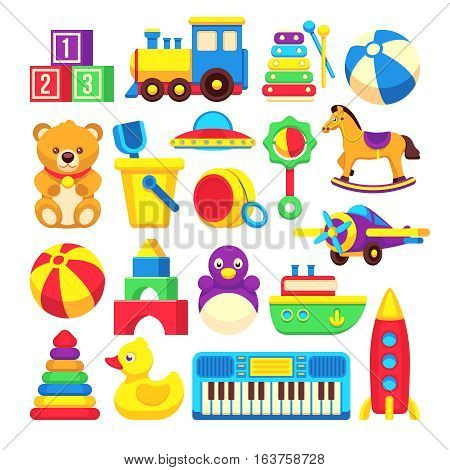 Kids toys cartoon vector icons collection. Colorful toys of set, illustration toy horse and duck