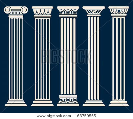 Classic roman, greek architecture columns vector set. Sculpture column for decoration, illustration of ancient historical columns