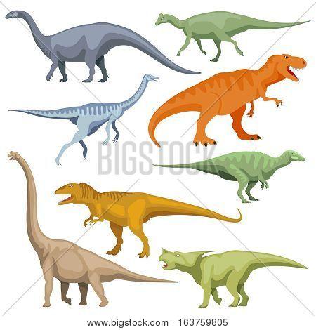 Cartoon dinosaurus, reptiles vector. Set of color cartoon dinosaur, illustration of prehistoric predator dinosaur