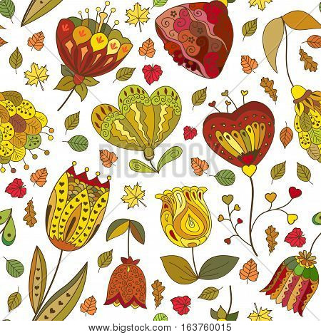 Vector autumn doodles seamless pattern for web page background.