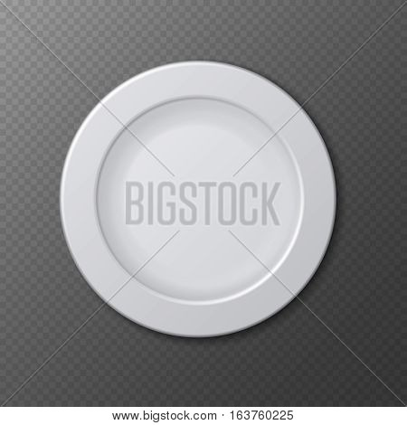 Isolated empty ceramic dish plate realistic empty vector illustration. Clean plate isolated on checkered backdrop