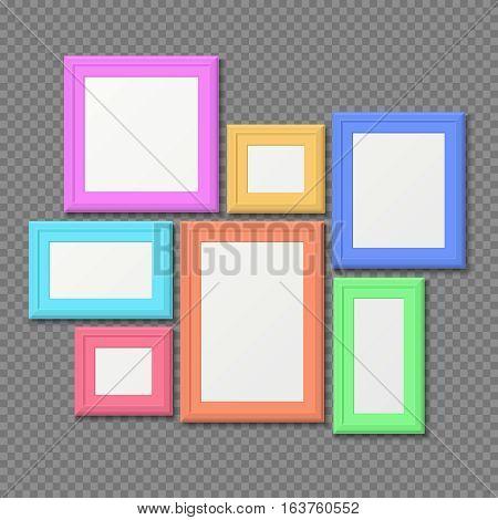 Color rectangle portrait wall frames vector set. Color photo frame, gallery with colored frame for portrait illustration