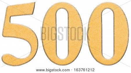 500, Five Hundred, Numeral Of Wood Combined With Yellow Insert, Isolated On White Background