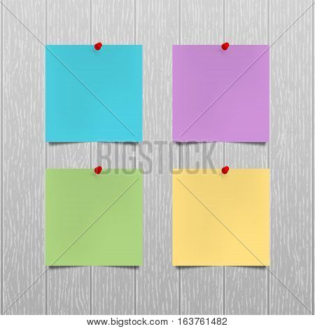 Vector mockup. Sheets of color paper with a red push pins hanging on a gray wooden wall. Empty blanks notes. Office business interior template. Wood texture with vertical stripes. Hardwood background