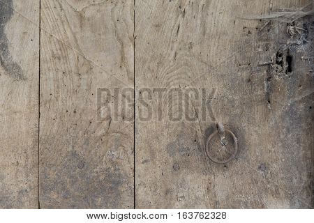 Wood Background With Steel Handle