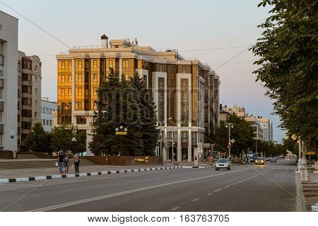 BELGOROD RUSSIA - JULE 02 2016: One of the central streets of Belgorod - Civil Avenue. Cityscape in the late evening.