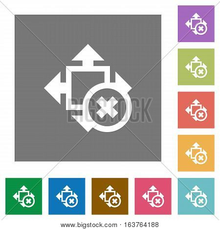 Cancel size flat icons on simple color square backgrounds