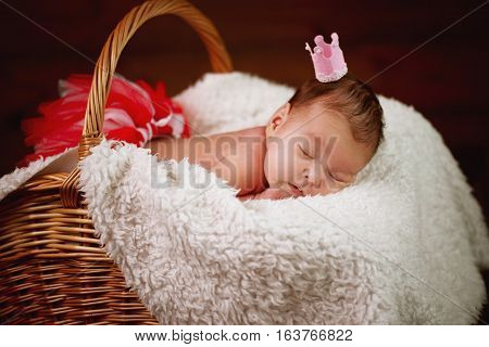 photo of cute newborn baby in the basket