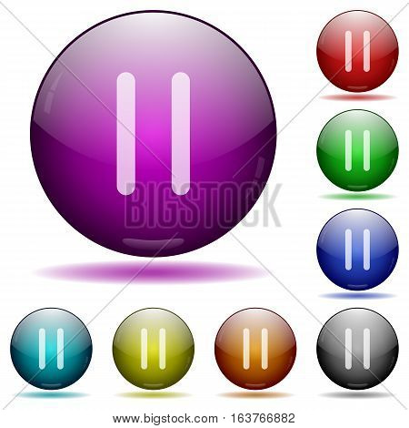 Media pause icons in color glass sphere buttons with shadows