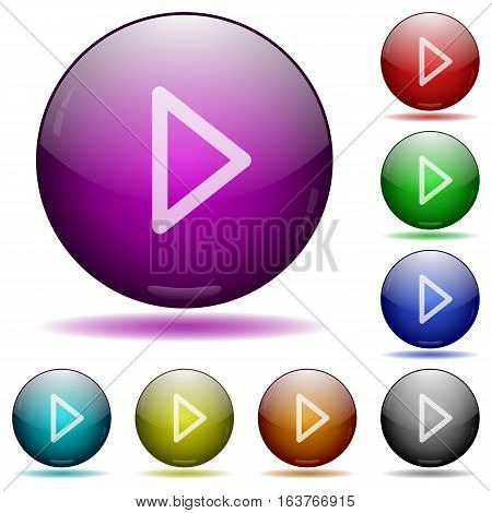 Media play icons in color glass sphere buttons with shadows