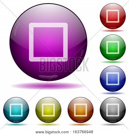 Media stop icons in color glass sphere buttons with shadows