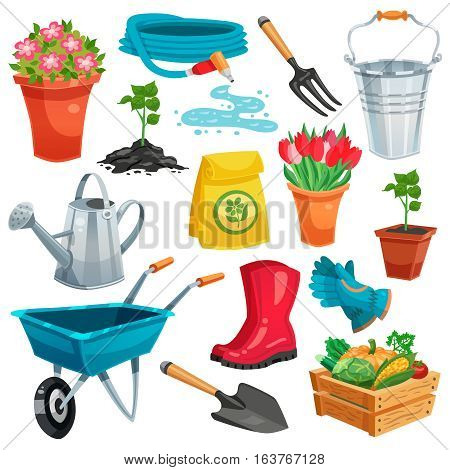 Garden set with pail watering can rubber boots sprout in pot organic vegetables in container colored isolated icons flat vector illustration