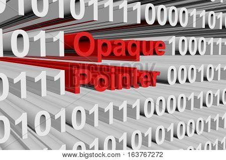 Opaque pointer in the form of binary code, 3D illustration