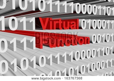 Virtual function in the form of binary code, 3D illustration
