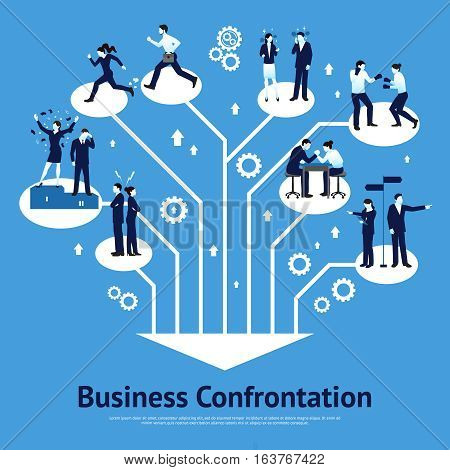 Constructive business confrontations for succeessful common goals and profitable solutions flat graphic design poster abstract vector illustration