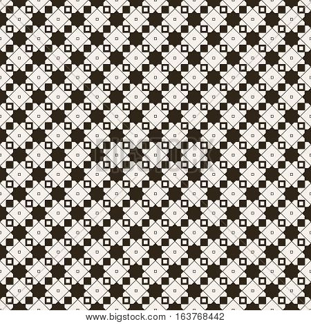 Seamless pattern. Repeating modern stylish geometrical texture with linear rhombus grids stars outline square. Vector contemporary design