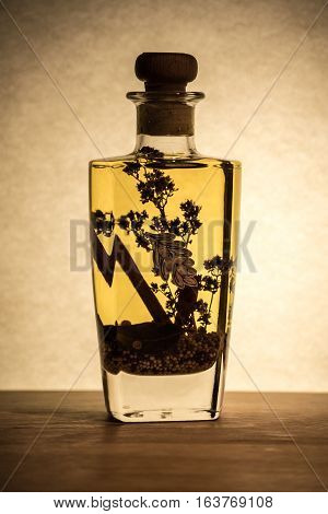 Vegetable oil with spices in a bottle