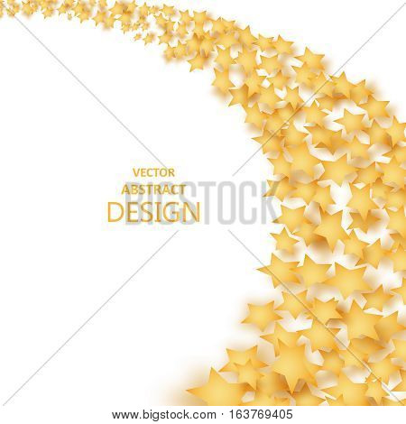The falling stars with a shadow. Abstract background of a star wave. Incidentally falling gold tinsel. Paper brilliant golden elements of design. A template for invitation cards discount cards celebrations. Vector illustration.