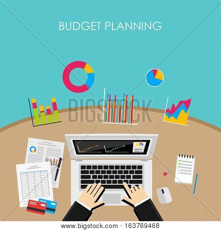 Business person analyzes economy statistics for budget planning.