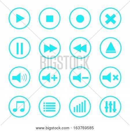 Media Player Vector Icons Set on white