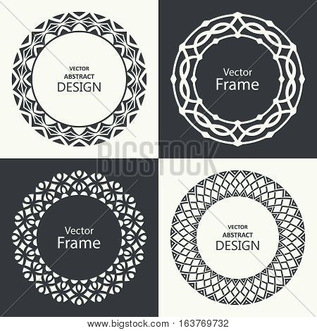 Set of monogram line vintage frames. Greeting cards. Wedding invitations. Retro style. Vector logo template labels and badges