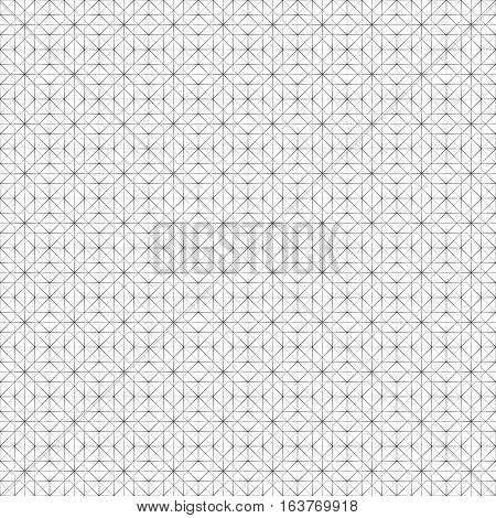 Vector seamless pattern. Simple minimal abstract geometric background. Modern linear texture with thin lines. Regularly repeating geometrical tiled grid with rhombus diamond squares triangles. Trendy design
