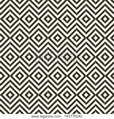 Vector seamless pattern. Classical abstract geometric background. Modern stylish tiled texture. Regularly repeating geometrical ornament with rhombuses diamonds zigzags