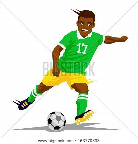 Cool black football player in a green shirt. Vector illustration on a blue background. Sports concept.