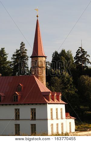 Priory Palace with a tower in the city of Gatchina