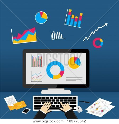 Business dashboard on computer. Infographic or web banner illustration.