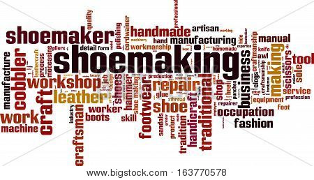 Shoemaking word cloud concept. Vector illustration on white