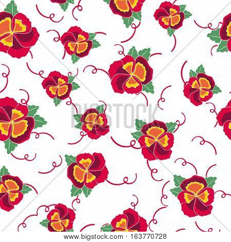 Vector seamless background with colorful pansy, leafs, hydrangea flowers. Pattern with ribbon for flower shop, wedding design, fabric or paper