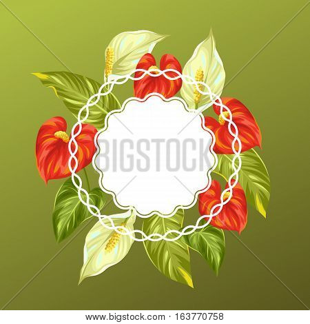 Decorative card with flowers spathiphyllum and anthurium.
