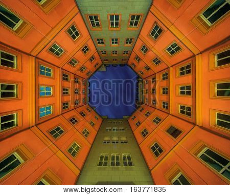 Panoramic view of octagon roof in Berlin