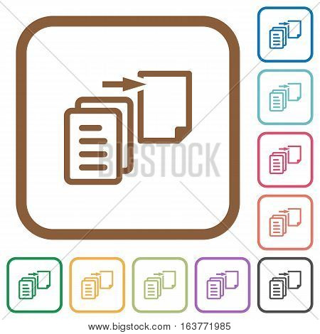 Move file simple icons in color rounded square frames on white background
