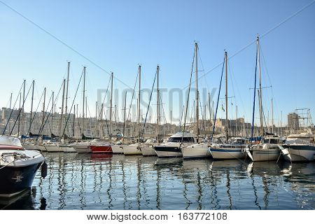 View of Vieux Port in Marseille, France