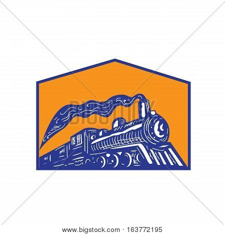 Illustration of a steam train locomotive coming arriving viewed from low angle set inside shield crest on isolated background done in retro style.