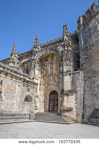 Monastery of the Order of Christ - the main stronghold of the Portuguese Templars and their successors the Order of Christ. The main entrance .
