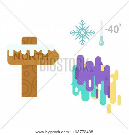 Northern lights above waters edge and wooden sign post element christmas arrow vector. Arctic cold snow and beauty particles illuminate magical colors. Reflection atmosphere.