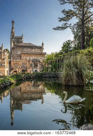 Portugal Buçaco . Royal hunting castle. A fine example of Manueline .At the moment this is one of the best hotels in Portugal. Pond with swans .