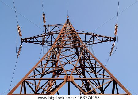 High voltage electrical power transmission pylon (bottom view)