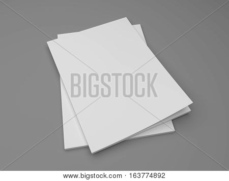 Blank stack of two magazines or books on a gray. 3D illustration mockup.