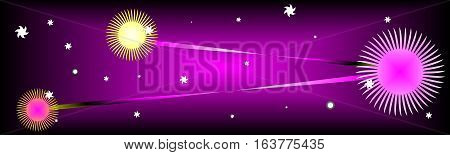 purple background with the sun and Stars useful as a background or banner